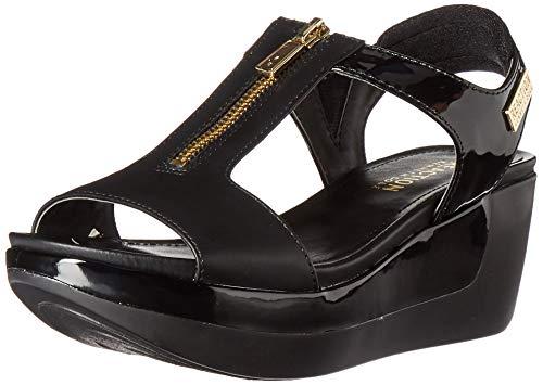 Price comparison product image Kenneth Cole REACTION Women's Pepea T-Strap Platform Sandal Wedge,  Black,  9 M US