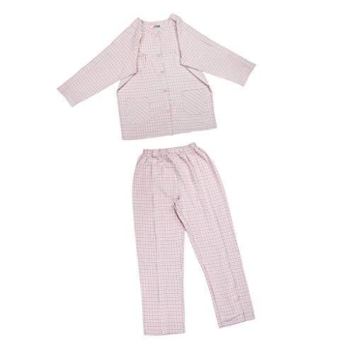 IPOTCH Pijama de Paciente Conveniente para Infusión Inyección Heridas de Verificación Ligero - Rosado XXL