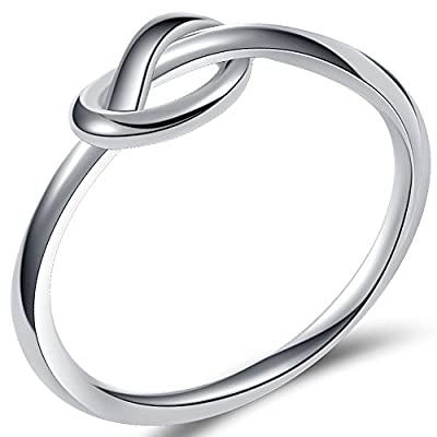 Durable Stainless Steel Silver Black Love Knot Ring Promise Celtic