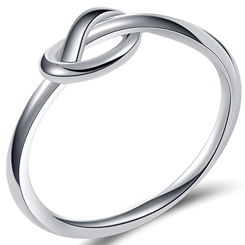 Size 3-13 Stainless Steel Simple Love Knot Celtic Promise Anniversary Statement Ring (Silver, 7)