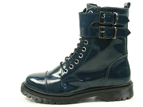 Bronx Brifka-Chunkyx 47009-N Schuhe Damen Boots Biker Lack Stiefeletten, Größe:38 EU, Farbe:Blau