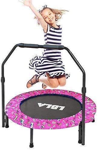 LBLA Kids Trampoline Exercise Fitness Trampoline 36''with Adjustable Handrail and Safety Padded Cover Mini Foldable Bungee Rebounder Trampoline Indoor/Outdoor