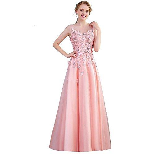 Sun Goddess SportingGoodsSüße Rosa Satin Luxus Abendkleid Spitze Blüte Mit Perlen, Länge Und Veranstaltungsräume Elegante Party Formale Kleider, 12.