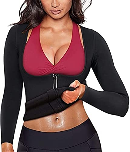 Kobiety Pocić Sauna T Shirt Odchudzanie Trening Waist Trener Zipper Kamizelka Dla Odchudzania Neoprenowe Rękawy Top (Color : Black, Size : XXXL)