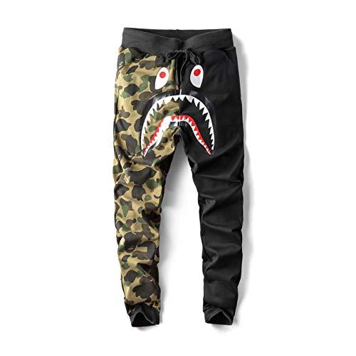 Japan Men's BAPE A Bathing Ape Shark Head Camo Casual Jogging Pants Sweatpants (Black 1, S)