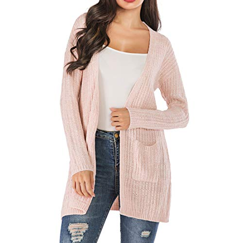 ZHUQI Women Cardigan Women Tops Sexy Elegant Comfortable Fashion Knitting Long Sleeve Ladies Tops Autumn New Temperament Loose Casual Long Lightweight Ladies Cardigan with Pockets A-Pink L