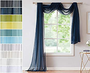 Red Co Semi Sheer Navy Window Scarf 54 by 216 Inches Long Decorative Curtain Accent Window Valance