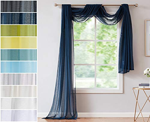 Red Co. Semi Sheer Navy Window Scarf, 54 by 216 Inches Long, Decorative Curtain Accent Window Valance