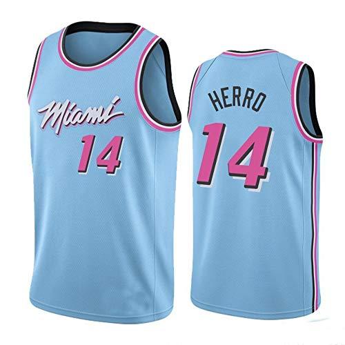 ZGJY Miami Heat Tyler Herro # 14 Jersey Shorts-Set Classico Senza Maniche, Pallacanestro per Uomo e T-Shirt da Basket Unisex Completo Lettere Cucite-D-XL