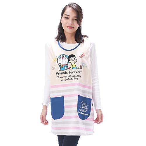 NISHIKI[ニシキ] キャラクターエプロン《ドラえもん》幼稚園の先生や保育士さんに【選べるカラー/大きいサイズも】速乾 シワになりにくい 動きやすいショート丈 さらりと軽い 綿ポリ ポケット付き レディース 背付エプロン apron 【ピンク×グレ