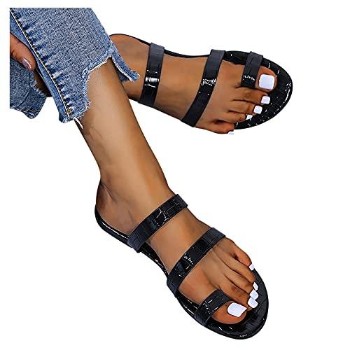 AIchenYW - Sandalias de verano para mujer, diseño de tacones planos, ortopédico, hallux valgus, corrector, sandalias de playa cómodas, planas