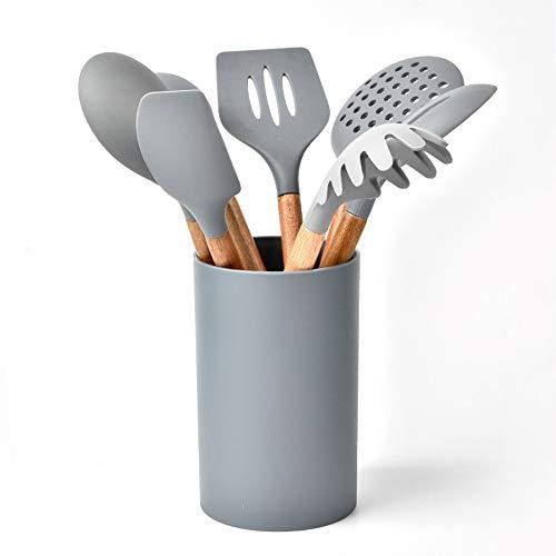 WOHCO Kitchen Utensil Set, 8-piece set of wooden handle silicone shovel spoon storage bucket, Non-stick Heat Resistant Kitchen Gadgets Cookware