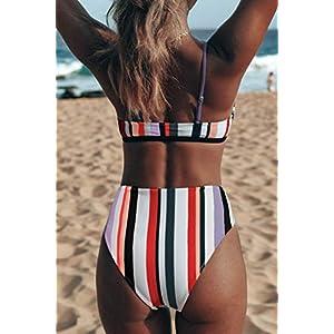 CUPSHE Women's Stripe Bikini Bowknot Shirred Swimsuit