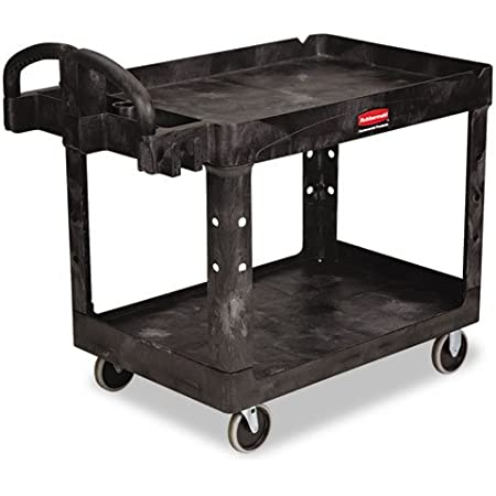 Rubbermaid Commercial Products 2-Shelf Utility//Service Cart Flat Shelves Small 500 lbs for Warehouse//Garage//Cleaning//Manufacturing Capacity FG450589BLA Storage Handle