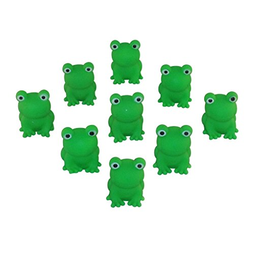 Passover Frogs - 9 Plastic Squeaking Frogs, Soft Plastic Bright Green Plague Frogs by Cazenove