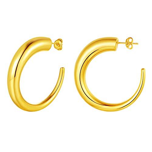 Orecchino a cerchio grande per ragazze 45mm di larghezza a forma di C Anello per orecchio Semicerchio placcato in oro 18 carati Basic Office Lady (OL) Gioielli per donna Orecchini semicircolari