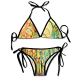 Dance of The Flower Pods Bikini para mujer Cadena 2 piezas Halter Traje de baño sexy Triángulo Trajes de baño Set Negro