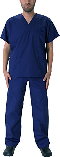 Natural Workwear Uniform Mens Medical Nurse Scrub Set, True Navy 39924-Medium