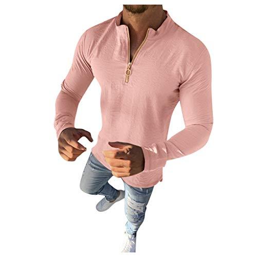 Xmiral Sweatshirt Herren Einfarbig Langarm Reißverschluss Slim Fit Shirt Hemd Herbst Winter Sweatshirt Pullover Jumper Streetwear Sportbekleidung(Rosa,3XL)
