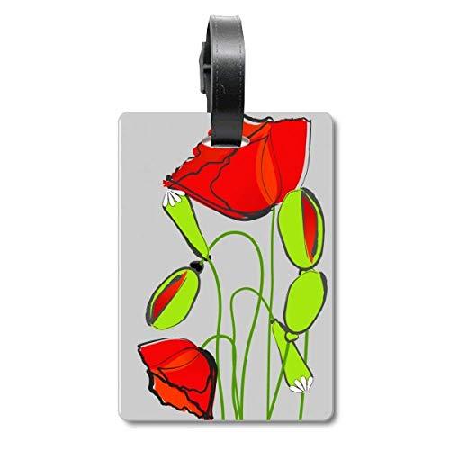 Red Flowers - Etiqueta identificación Maleta maíz