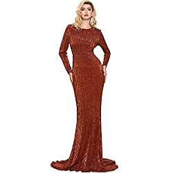 Red Long Sleeve Sequin O Neck Elegant Maxi Dress