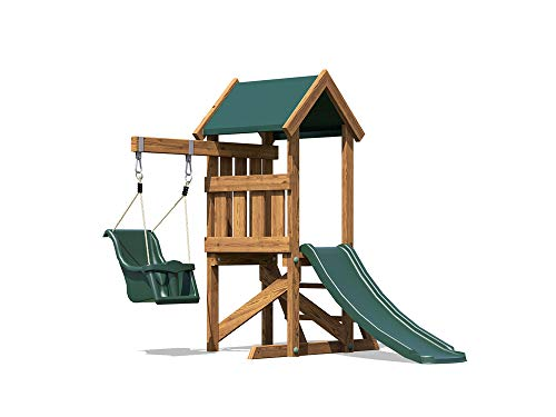Dunster House Wooden Toddlers Outdoor Climbing Frame Pressure Treated Baby Swing (Age: 1 to 3 years old) Childrens Garden Slide Play Tower - MicroFort