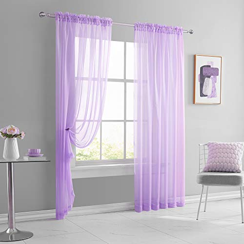 KEQIAOSUOCAI Sheer Light Purple Curtains for Living Room Bedroom Rod Pocket Sheer Lilac Lavender Light Filtering Voile Drapes Panels 72 inch Length Set of 2 Pieces Total is 104 Inches Wide