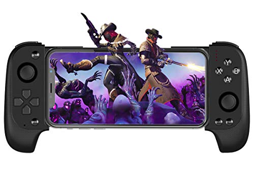 Mobile Game Controller Megadream Telescopic Wireless Gamepad Key Mapping Shooting Aim Gaming Controller with Flexible Joystick for Android iOS, compatible with PUBG Fotnite - No Simulator Need (Black)