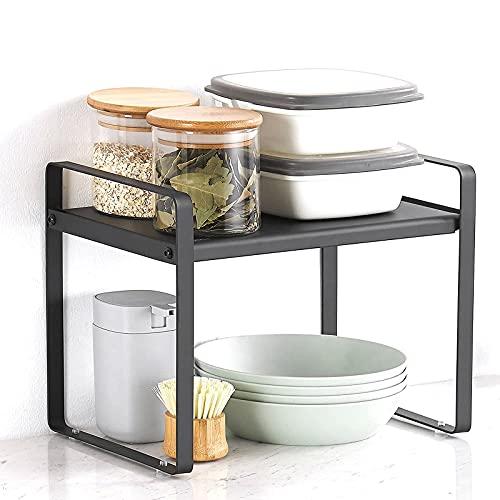 HYLX Expandable Kitchen Counter Organiser, Worktop Shelf, Cupboard Pantry Rack, for Kitchen Cupboard, Spice Storage, Bathroom Organiser, 27 cm