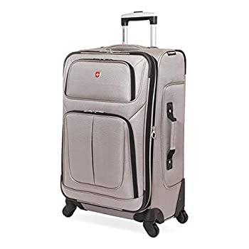 SwissGear Sion Softside Luggage with Spinner Wheels Pewter Checked-Medium 25-Inch