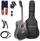 Guitare électrique électro-acoustique 12 cordes guitare électrique 12 cordes Starter Kit 41 pouces guitare noire 12 cordes par Vangoa
