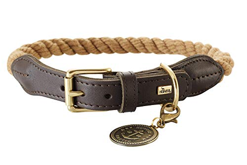 HUNTER List Hundehalsband, Tau, Leder, maritim, strapazierfähig, wetterfest, geschmeidig, 50 (S-M), beige