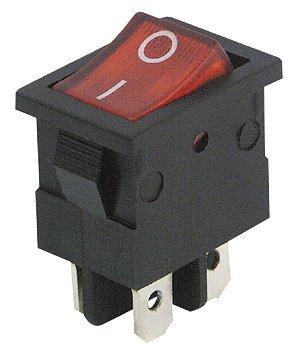 Mini de interruptor basculante, 4pines, Rojas Balancín, 250V ~/6,5a, 2posiciones: encendido/apagado
