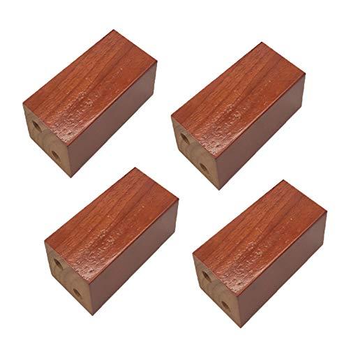 4 Pies de Muebles de Roble Patas de Muebles de Madera Muebles Piernas de Gabinete Bloque de Madera Cuadrado Pies del Sofá Mesa Cama Sillas Gabinete TV Armarios Escritorios,Begonia(8×8cmIncrease 10cm)