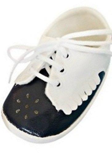 Seruna Festliche-r Baby-Schuh TP21 Gr. 16 Tauf-Schuhe schwarz-weiß für Babies Junge-n und Mädchen zu Hochzeit-en