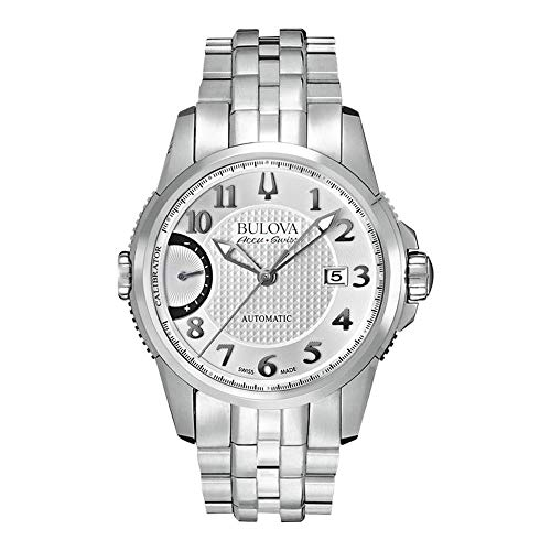 Bulova Accu Swiss Calibrator EFAS Men's Automatic Watch with Silver Dial Analogue Display and Silver Stainless Steel Bracelet 63B172