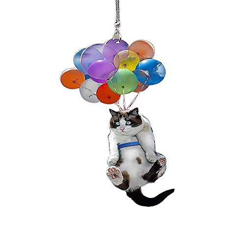 Yingwang Décoration à suspendre en forme de chat avec ballon coloré, pendentif de voiture, chat mignon créatif pour décoration intérieure de voiture à suspendre au mur