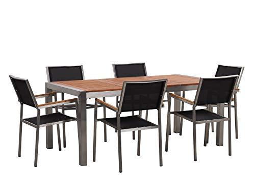 Beliani Conjunto de jardín Mesa con Tablero de Madera 180x90, 6 sillas Negras GROSSETO