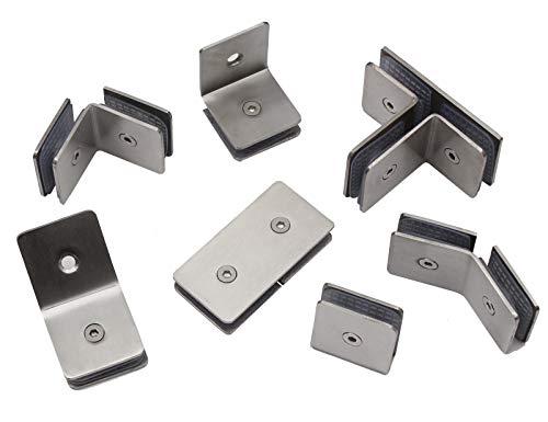 Edelstahl Glashalter in 7 Ausführung & Passend für Glasstärken von 6-8,78mm (Winkelverbinder Glas/Glas)
