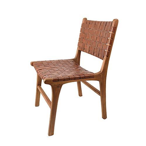 Woonvreugde eetkamerstoel 'Europa' Cognac Brown teakhout/lederen stoel stoel