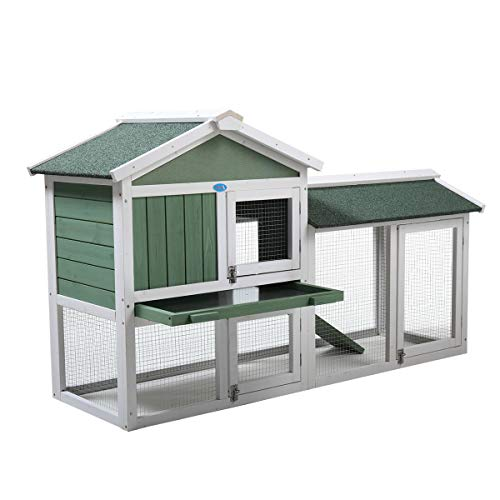 "JAXPETY New 58""Chicken Coop Wooden Bunny Rabbit Hutch w/Ramp, Green and White"