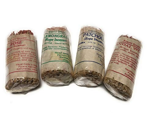 Arianna Willow Rope Incense Variety Kit Including Sandalwood, Lemongrass, Patchouli and Rose.