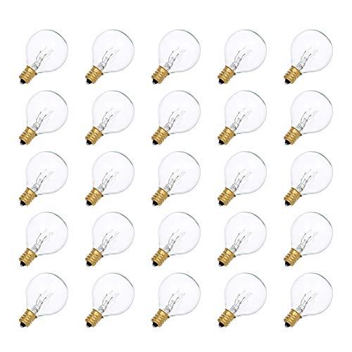 G40 Lampadine,Galapara Luci da Esterno Luminose,Lampadine di Ricambio G40 per Catena Luminosa Esterno,Luci da Esterno e Interno Decorazione, 25 Pezzi /Set