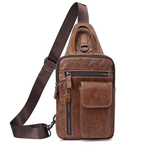 No brand Marsupio Uomo Pelle Non Finta Uomini Petto Bag Superficiale Messenger Bag Sezione Verticale Tracolla Carry Bag Fitness Sports Zaino Borsa Zaino a Spalla (Color : Brown)