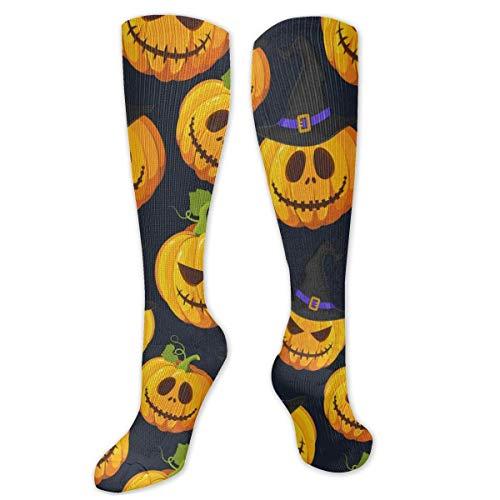 FETEAM Calabaza de Halloween con sombrero Novedad Cool Dress Crew Calcetines, calcetines largos Comodidad transpirable Compresin Calcetines de tobillo alto 2 Pares