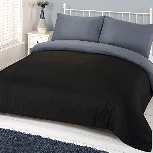 Brentfords Plain Dye Duvet Cover Quilt Bedding Set with Pillow Sham, Grey Black - King