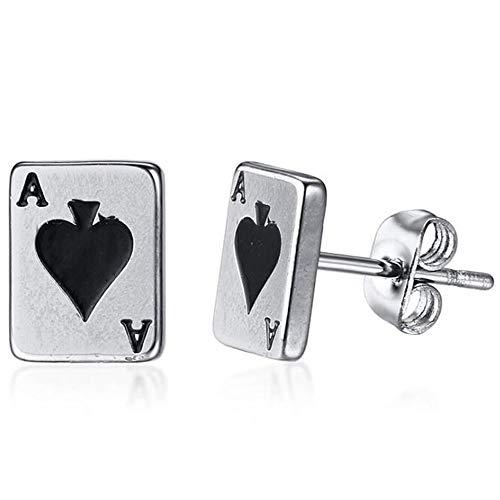 Stainless Steel Ace Spade Gambling Casino Biker Cockail Party Stud Earrings (Silver)