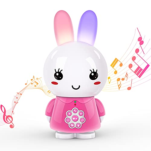 alilo Bunny Musical Learning Toys,Children Music Player Recorder, Rabbit Teether Toy with Light, Early Educational Machine Bedtime Story Singing Robot,Gift Present for 10-36 Months Baby & Kids(Pink)