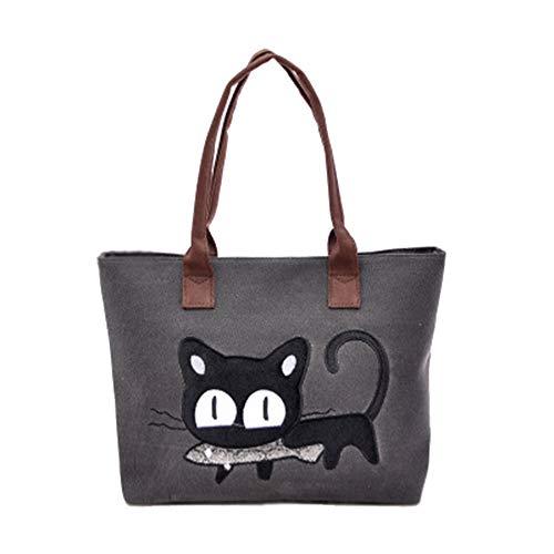 MINGZE Bolso, Nuevo Moda Mujer Bolsa de hombro Lindo bolso de gato Bolsa de lona Oficina Bolsa del almuerzo (Gris negro)