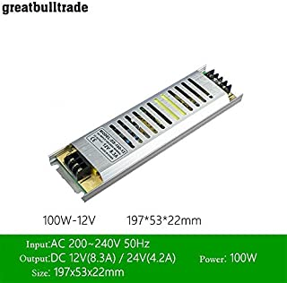 LED Ultra-Thin Drive Switching Power Supply DC12v 60W 100W150W 200W 300W Special Power Supply for Light Box (DC12V 8.3A 100W)